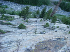 Rock Climbing Photo: Easy cruising low on the route with the bikepath b...