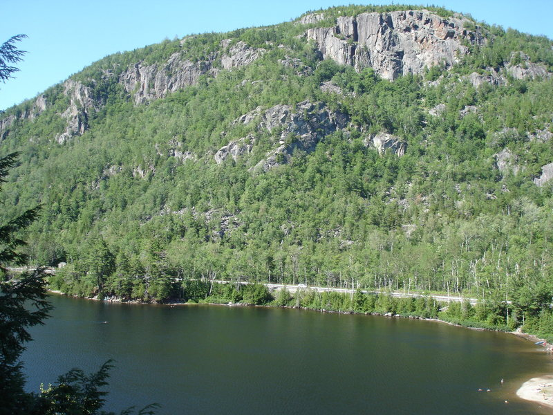 The view from Tilman's Arete looking across Chapel Pond to the Wash bowl cliffs