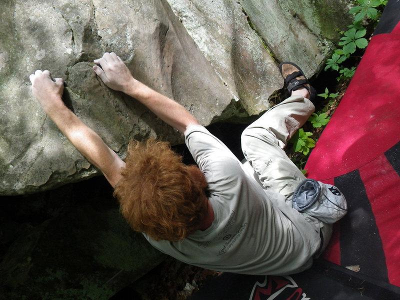 Rock Climbing Photo: Keller on the sit start of Moonshine