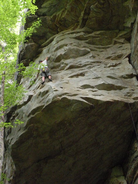 Trying to rest after the hanging traverse.