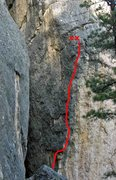 Rock Climbing Photo: The line as seen from up the hill. The bottom coup...