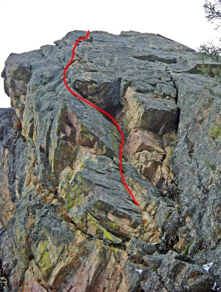 Rock Climbing Photo: The route (foreshortened in the upper 1/2) seen fr...
