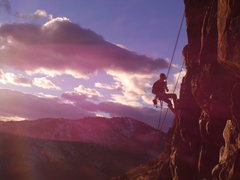 Rock Climbing Photo: Sunset rap at Table Mt, CO