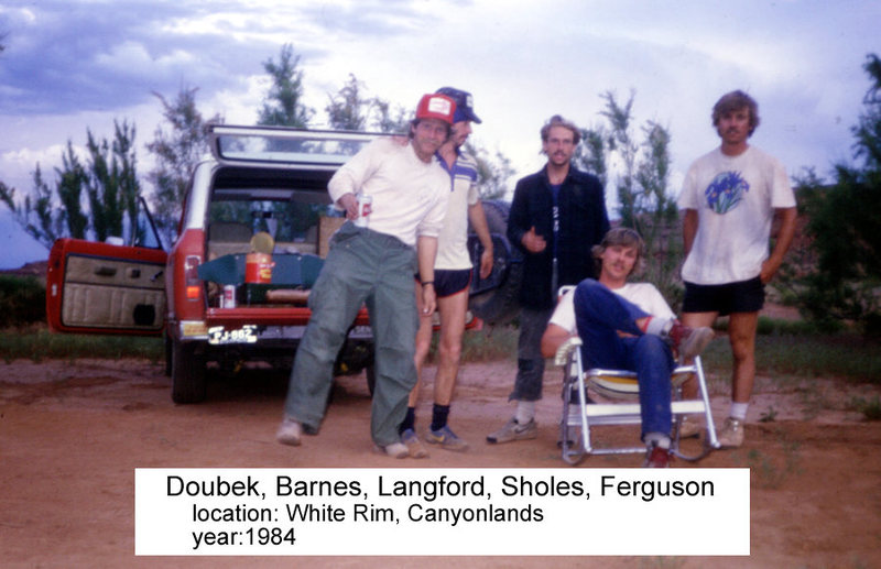 The crew to climb Islet and Block Top. The shorts are longer (Jim), the bean cans smaller and the hair thinner now.<br>