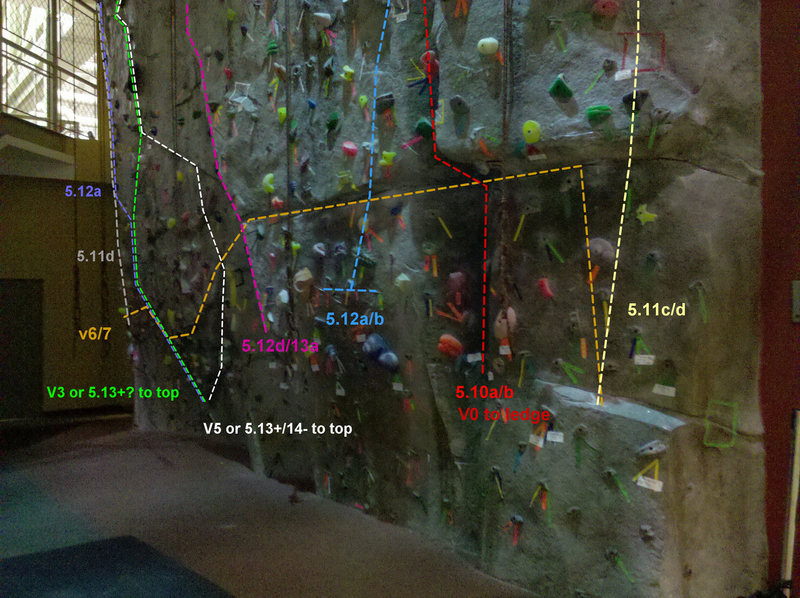 "Full wall.  Routes marked consist of permanent ""real rock"" features and are permanent."