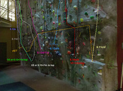 Rock Climbing Photo: Full wall.  Routes marked consist of permanent &qu...