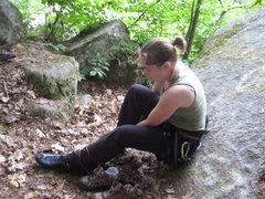 Rock Climbing Photo: My wife lacing up