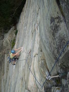 Rock Climbing Photo: Mary following up the P2 5.11a crux on the Fat Lad...