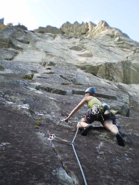 Rock Climbing Photo: Mary starting P1 of Star Trekkin'