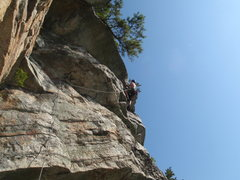 Rock Climbing Photo: Ryan pulling the overhang on the optional 5.7 exit...