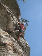 Rock Climbing Photo: Dustin pulling up the 5.7 exit.  Heads up to the s...