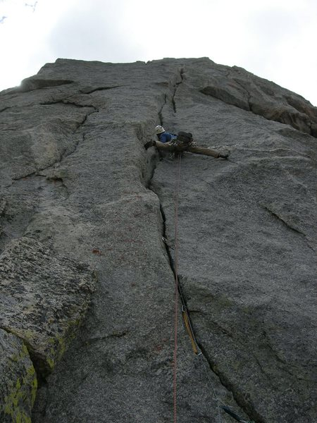 This is the gorgeous 6th pitch which ascends from the shorter tower onto the main formation.