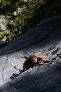 Rock Climbing Photo: Tracy Borland stretches through the crux of Voodoo...