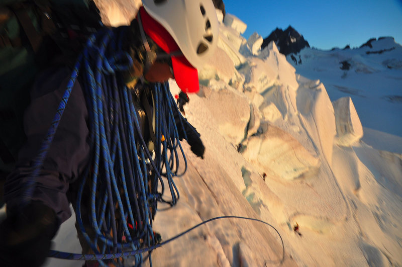 Mountaineering in BC, coiling rope sunset of a 13 hour day...