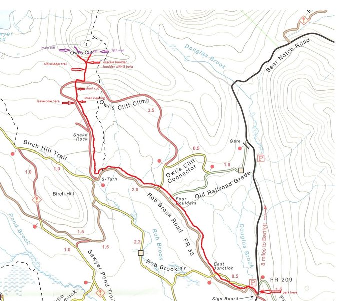 Rock Climbing Photo: Trail map to Owl cliff. Ride bikes on the logging ...