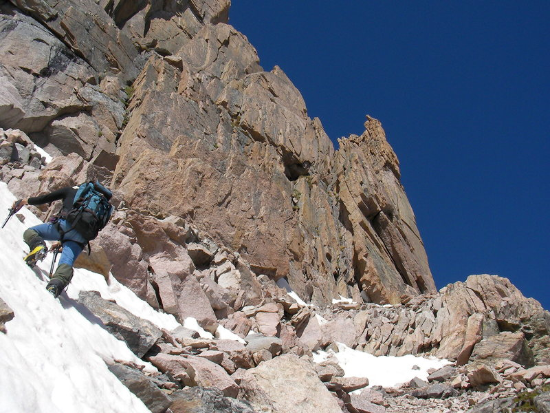 Rock Climbing Photo: Jim starting Broadway Longs Peak CO.