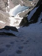 Rock Climbing Photo: Looking down at the ski line on the Notch Couloir ...