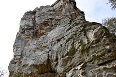Rock Climbing Photo: David Logan leading Pin Chimney.