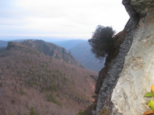 View towards the Chimneys from the first belay station on Cracker Jack.