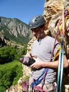 Rock Climbing Photo: Cody chilling at the top after his second lead cli...