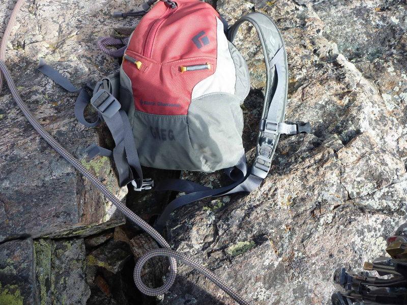 Rock Climbing Photo: Greg recently seen atop the Petit Grepon.