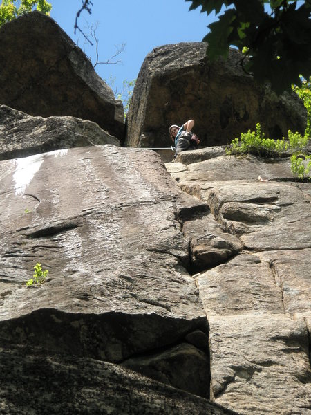 Rock Climbing Photo: Looking up Second Job from bottom (roof then crack...
