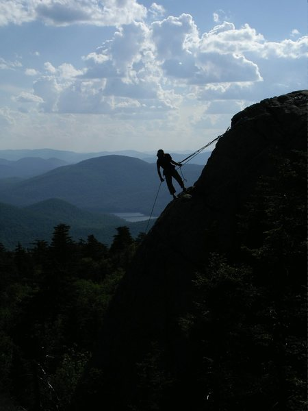 Jay Harrison belaying from the top of Cornerstone.