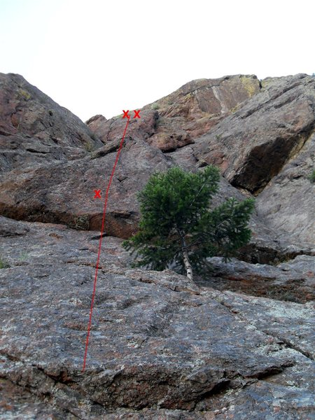 Rock Climbing Photo: Pic shows approximate route of Men Arete. It's jus...
