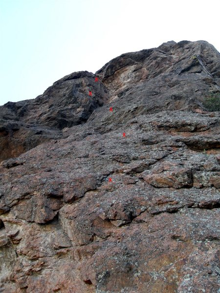 Rock Climbing Photo: Red Xs mark the new bolts on the route.  Note the ...
