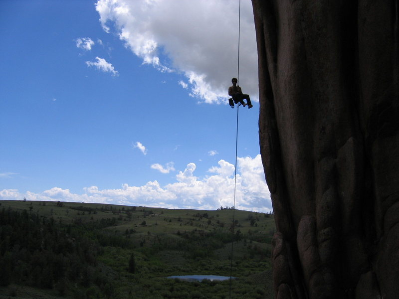 Rappelling off Flake.