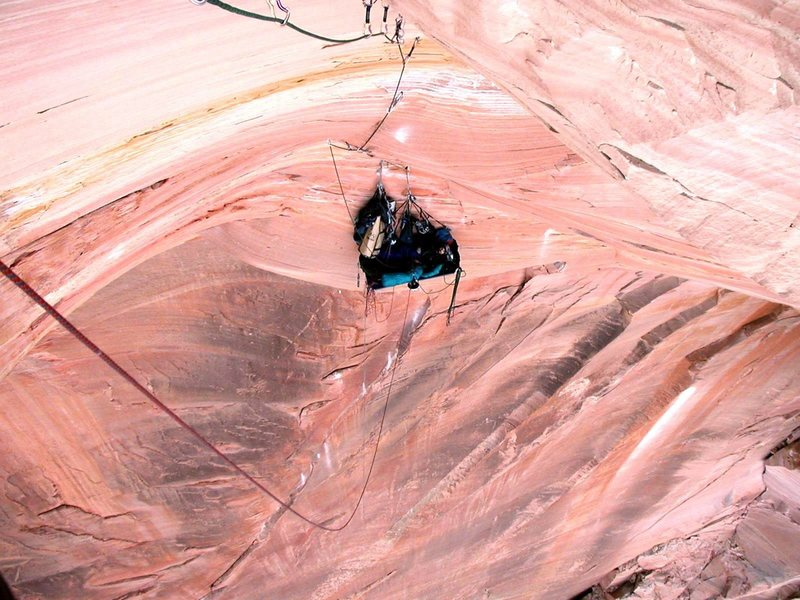Rock Climbing Photo: Looking down at the anchor right over the roof