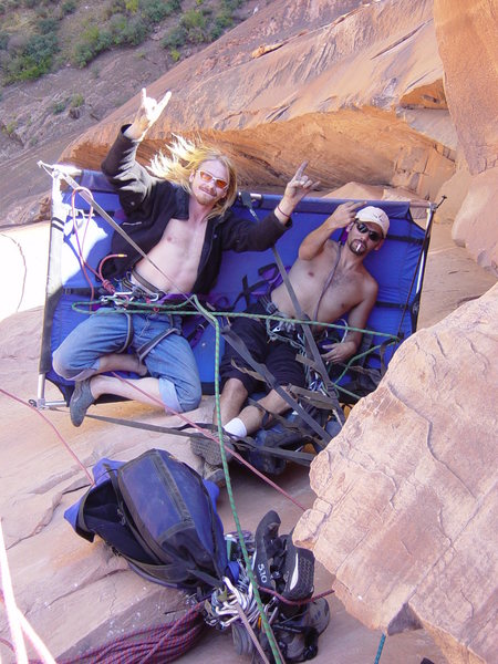 Portaledge belay top of pitch 3