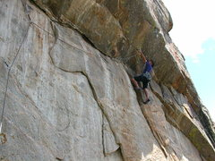Rock Climbing Photo: Jim Belcer starting the crux on the first day of a...