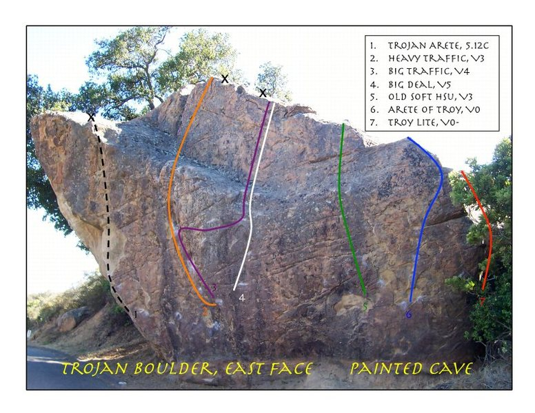 East Face of Trojan Boulder. Bolt locations approximate. Short and easy downclimb on the back side.