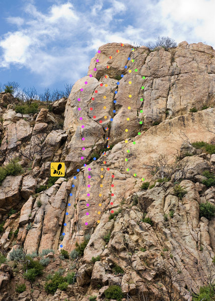 Topo for Upper Gibraltar<br> BLUE: Triple Overhang<br> PURPLE: Dazed & Confused<br> ORANGE: a Route Runs Through It<br> RED: the Crescent Direct<br> YELLOW: the Soul<br> GREEN: the Gibbon