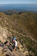 Rock Climbing Photo: Doug Steigerwald nears the top of the Gibbon, at U...