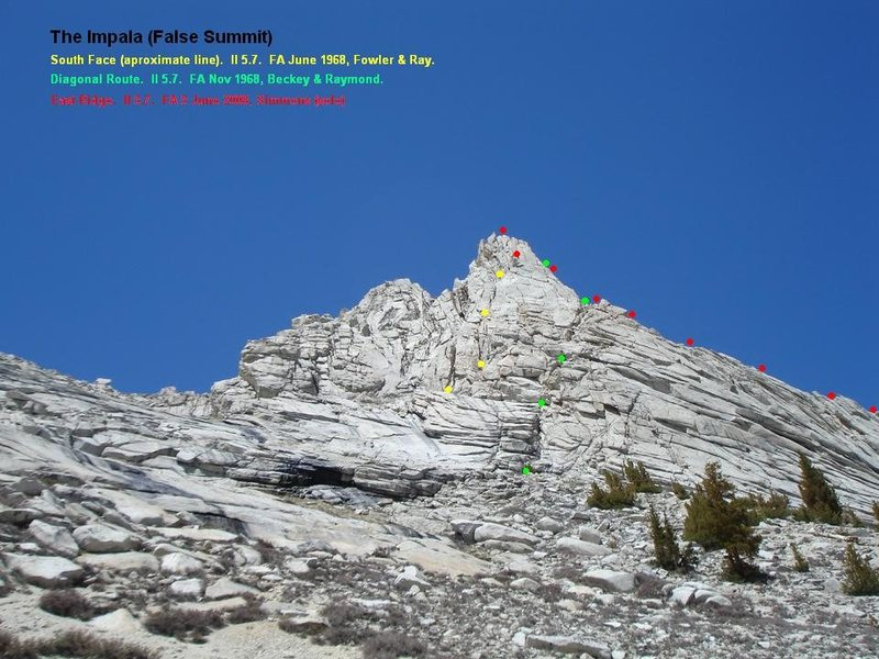 Showing the three documented routes on The Impala:  The South Face, The Diagonal Route, and the East Ridge.