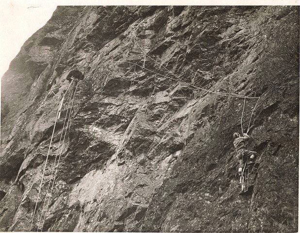 Historic photo. Adrian Liddel and Paul Ross in 1965 making the aided first ascent of The Great Buttress .... nine years later it became the foundation of the famous climb.. Footless Crow. 5.12b Photo Tom Taylor