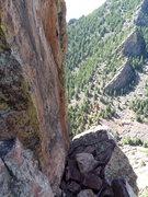 Rock Climbing Photo: The ledge above the traverse where the 'fridge-siz...