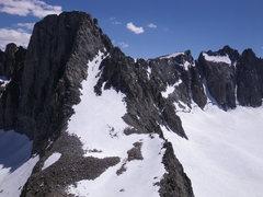 Rock Climbing Photo: 8-July-2010: Swiss Arete on left, U Notch and Nort...