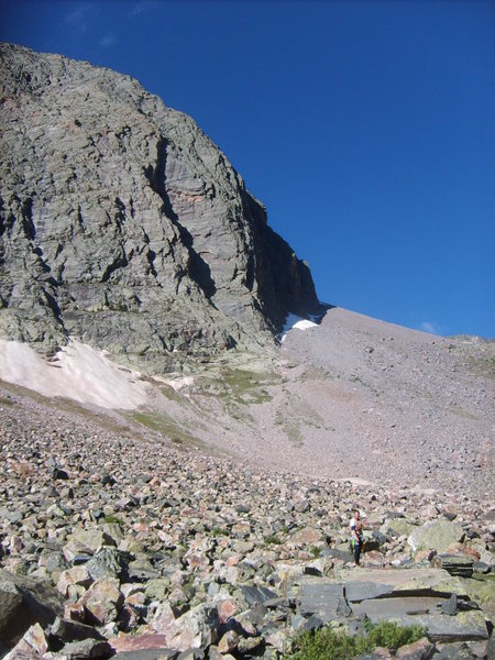 Rock Climbing Photo: The approach to the face, the dihedral is the shad...