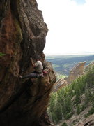 Rock Climbing Photo: The drop knee and final hard move - a long reach t...