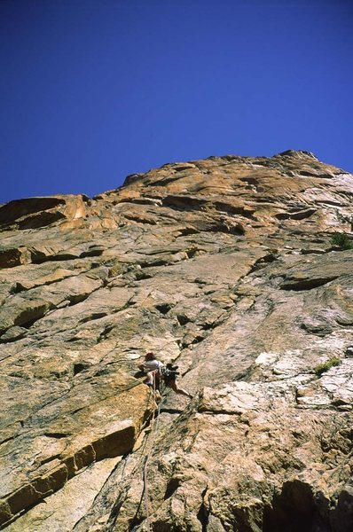 Rock Climbing Photo: Fran Bagenal starting up Myopia. Pitch 1.