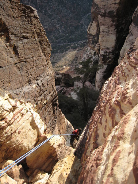 The first rappel on descent.
