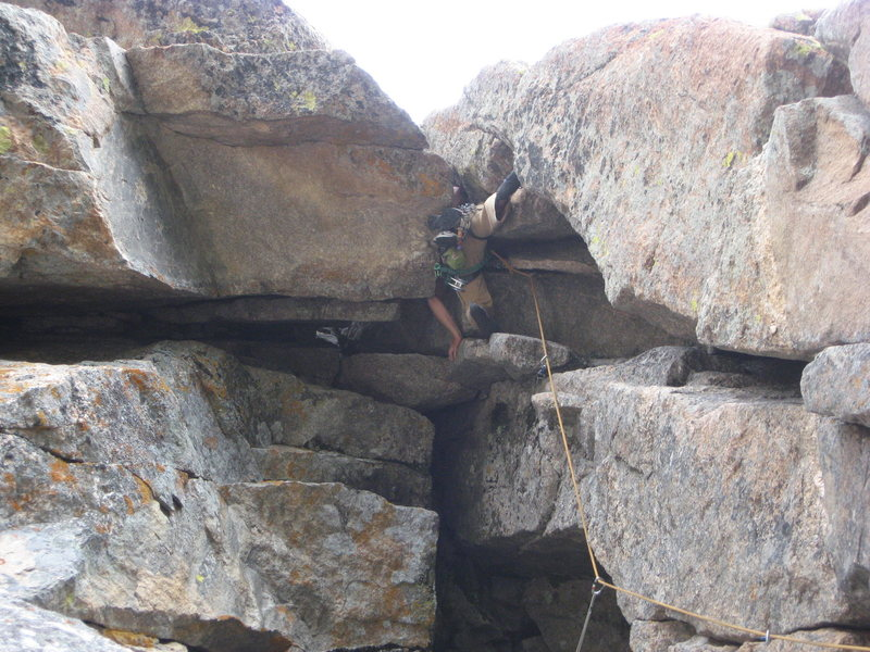 Rock Climbing Photo: Andy Working up into the slot of the guillotine. R...