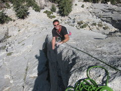 Rock Climbing Photo: The Meat Puppet smiling on Edgehogs' second pitch.