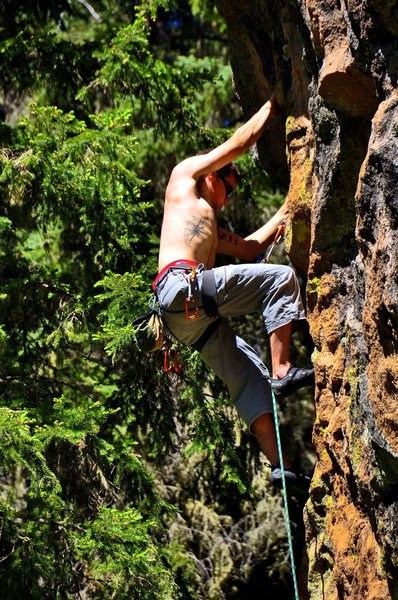 Rock Climbing Photo: Lee is just below the crux roof move on the route....