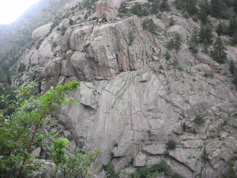 Looking at base of North Sheep Mountain.<br>