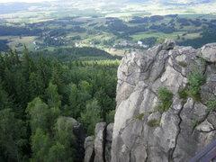 Rock Climbing Photo: Looking down on the small villiage of Karpniki