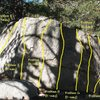 Photo/topo for the South Warm-up Boulder (N. & E. Face), Tramway